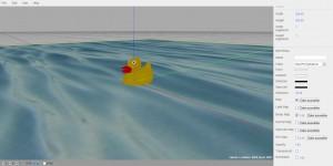 Badeente im Wasser Three.js Editor
